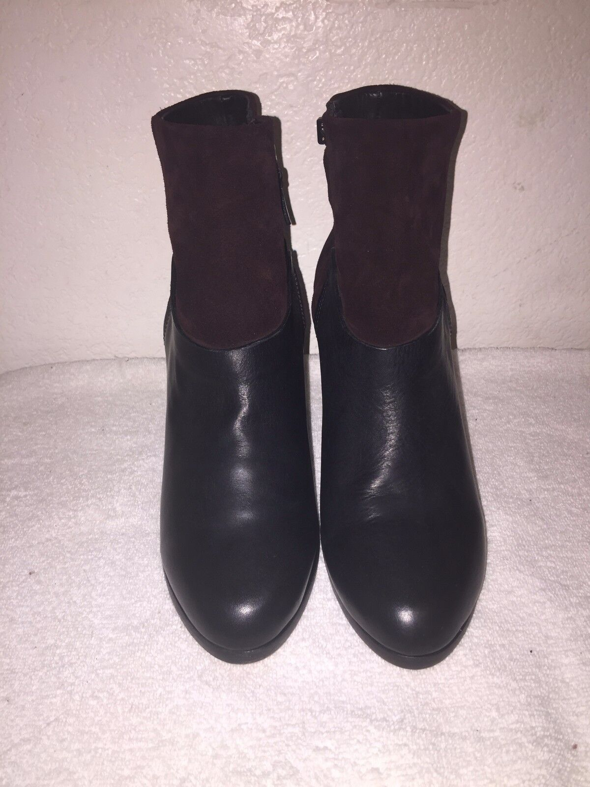 Rag & Bone Kendall Leather and Suede Ankle Booties Black and Brown Size 40