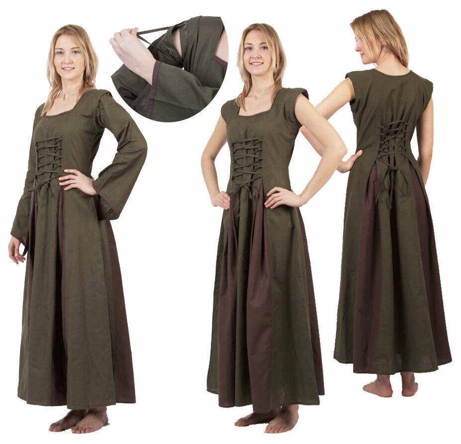 Mittelalter-Kleid Ärmel abnehmbar olive braun Gr. S M, L XL, 2XL