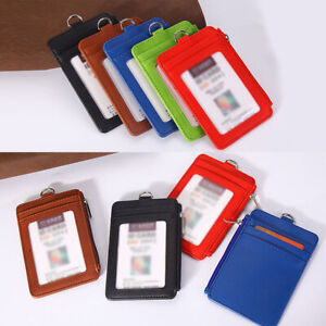Portable-Badge-Id-Holder-Pass-Lanyard-Card-Wallet-PU-Leather-Bus-Neck-Strap