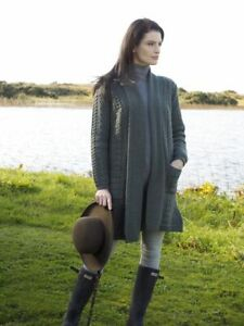 Aran-Crafts-Green-Long-Merino-Knitted-Coat-Cardigan-sh4788-Made-in-Ireland