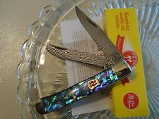 Kissing Crane Genuine Abalone & Damascus 2 Blade Trapper Pocket Knife 5220D New