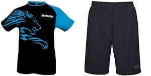 Donic-Vestido-Completo-Camiseta-Lion-Cian-Corto-Finish-de-Tenis-Mesa-Badminton