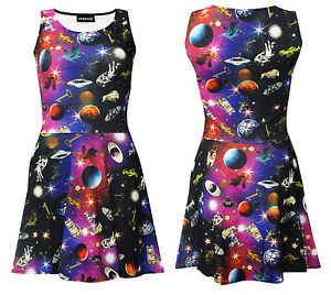 Women-039-s-Space-Galaxy-Universe-Space-Ship-Planets-Angel-Statues-Skater-Dress