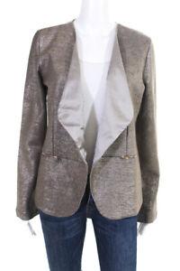 Domenico-Vacca-Womens-Blazer-Brown-Metallic-Knit-Size-44