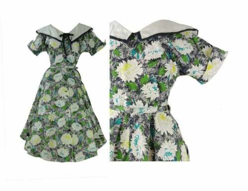 Fit and Flare 50s Dress Black Floral Print Cotton