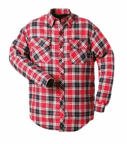 Herren Thermo Hemd Holzfäller blau rot grau Kariert Gefüttert Arbeits Jacke