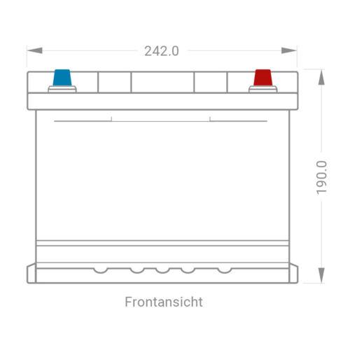 Autobatterie 65Ah 30/% mehr Leistung CA//CA Starterbatterie sofort betriebsbereit