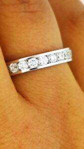 14K-White-Gold-2-Ct-Diamond-Round-Eternity-Wedding-Anniversary-Ring-Band