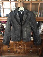 Jones New York Black Leather Jacket Coat Size Size Small