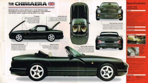 TVR CHIMAERA SPEC SHEET//Brochure//Pamphlet//Catalog:1998,