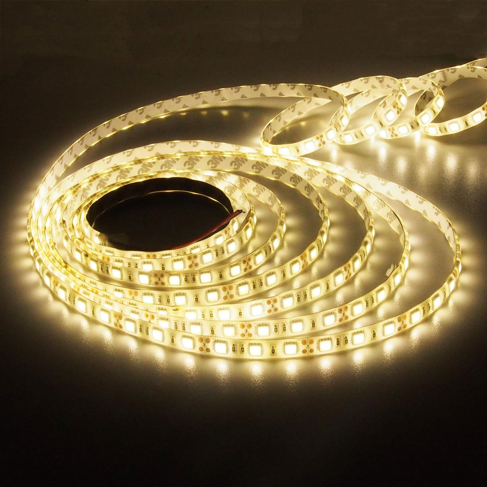 12V 5-20m LED Stripe Kaltweiß Wasserdicht Band Leiste Streifen SMD 5050 Netzteil