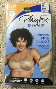 NWT-Bra-Playtex-18-Hour-4745-Ultimate-Lift-amp-Support-Wirefree-Panels-Nude-38DD