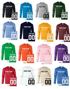 522824742 CUSTOM Long Sleeve T-Shirt JERSEY Personalized Name Number Football ...