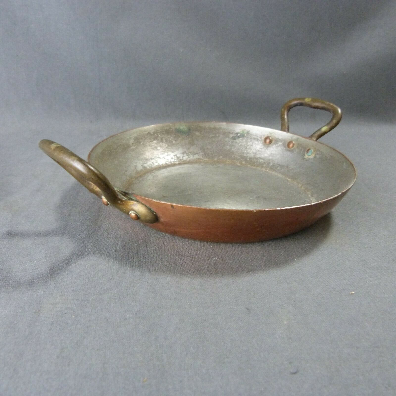 French Antique Vintage Round Copper Frying Pan Skillet Cooking Plate 6 1 2 16cm