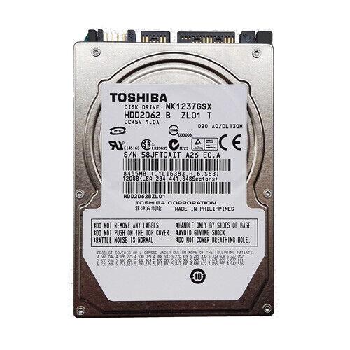 """020 C0//DL132C 2.5/"""" 120gb Sata Hard Drive Toshiba MK1237GSX HDD2D62 F ZL01 T"""