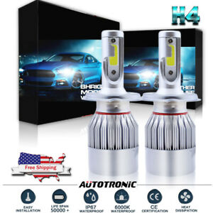 2x-H4-9003-HB2-1300W-195000LM-COB-LED-Headlight-Bulbs-Conversion-Kit-Hi-Low-Beam