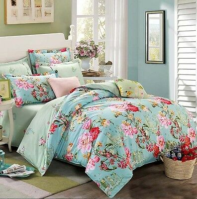 100% Cotton Flower Bedding Duvet Quilt Cover Set Twin Full/Queen King Size