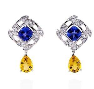4Ct-Cushion-Simlnt-Blue-Sapphire-Diamond-Halo-Stud-Earrings-White-Gold-Fn-Silver