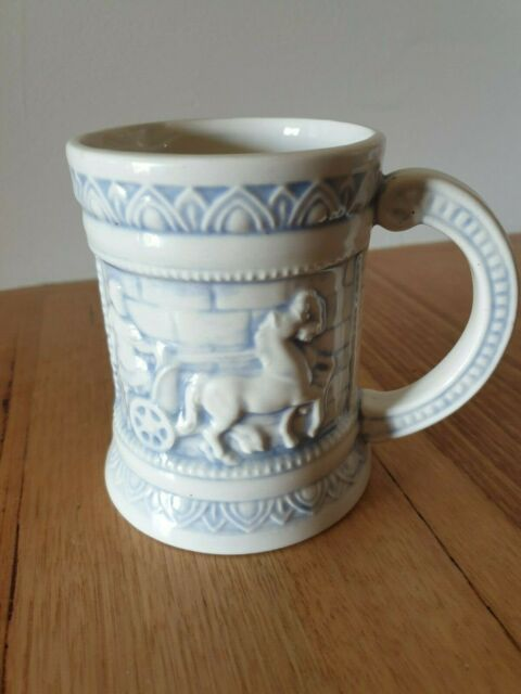 Vintage beer stein coffee mug hand made blue and white ceramic 1979