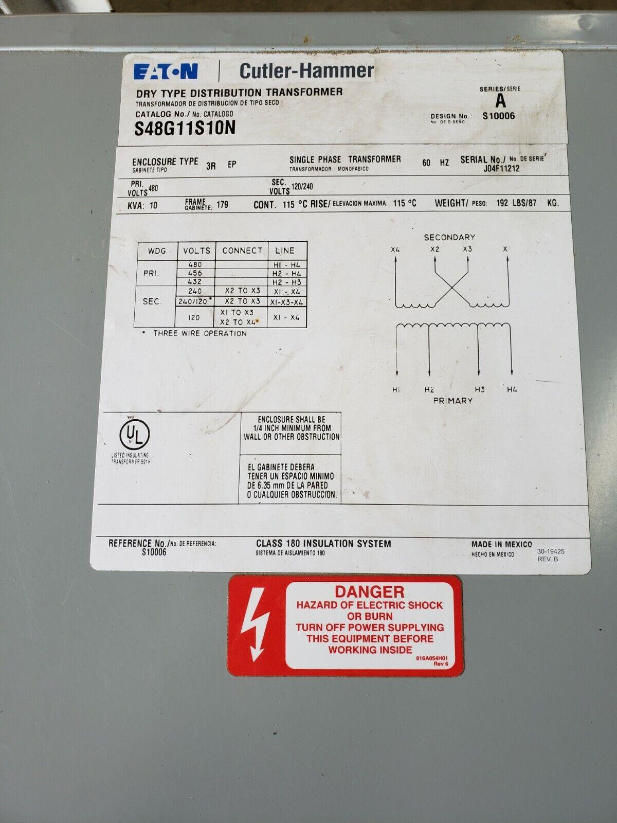 Eaton Cutler Hammer P48G11S10P 10 KVA Single Phase Transformer Pri 480 V  SEC 120 for sale online   eBayeBay