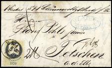 """Österreich, 1870, 5 Kr. Stempelmarke mit K1 """"PRAG 8/9 71"""" Brief (1691800165)"""