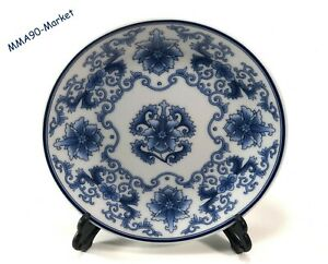 ANTIQUE-VINTAGE-PORCELAIN-PLATE-WHITE-amp-BLUE-CHINESE-HAND-PAINTED-FLORAL-PATTERN