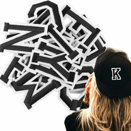 Black Letter Patch Patches Iron on Sew on Retro Alphabet Embroidered Letters