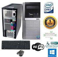 Dell Tower Windows 10 64 Desktop Computer Intel Core 2 Duo 3.00 4GB RAM 1TB WiFi