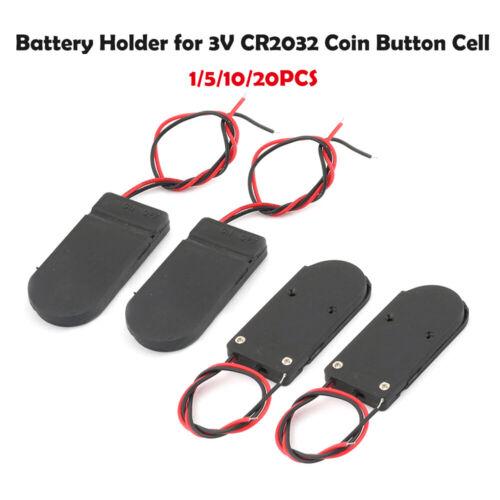Batteriehalter für 2x Knopfzelle CR2032 mi EIN-AUS Schalter Batteriefach Schwarz