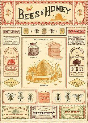Cavallini Bees & Honey Flat Wrap