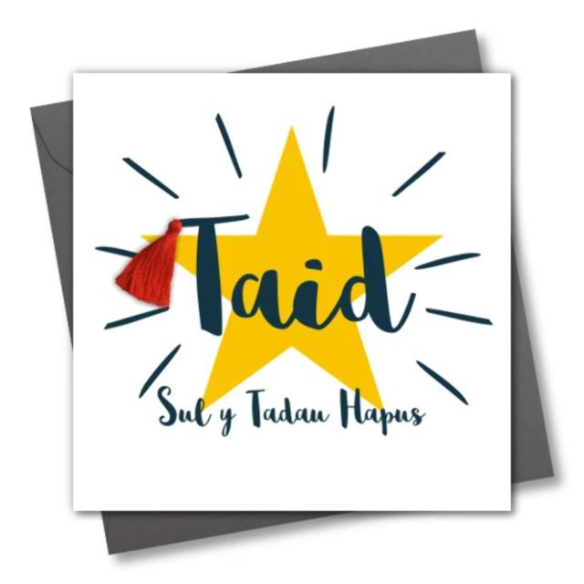 Welsh Father/'s Day Card Dad PineapplePompom Embellished Sul y Tadau Hapus