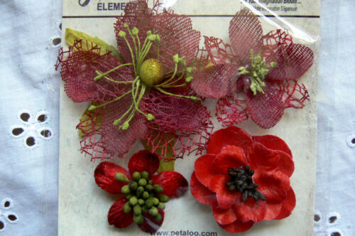 Mixed Textured Blossoms RED x 4 Fabric Mesh Flowers 35-60mm Petaloo