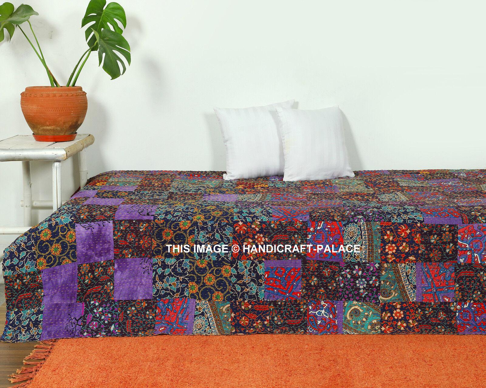 Patchwork Kantha Stitched Vintage Reversible Handmade Mandala Indian Bedspread