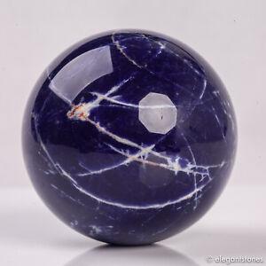 305g 63mm Large Natural Blue Sodalite Quartz Crystal Sphere Healing Ball Chakra