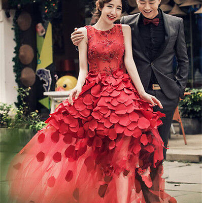 Red Petals Tank Quinceanera Dress Evening Prom Party Pageant Cocktail Ball Gown