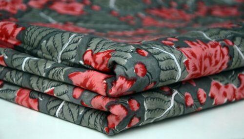 Indian Leaf Floral Hand Block Print Cotton Running Fabric Sanganeri Handmade New
