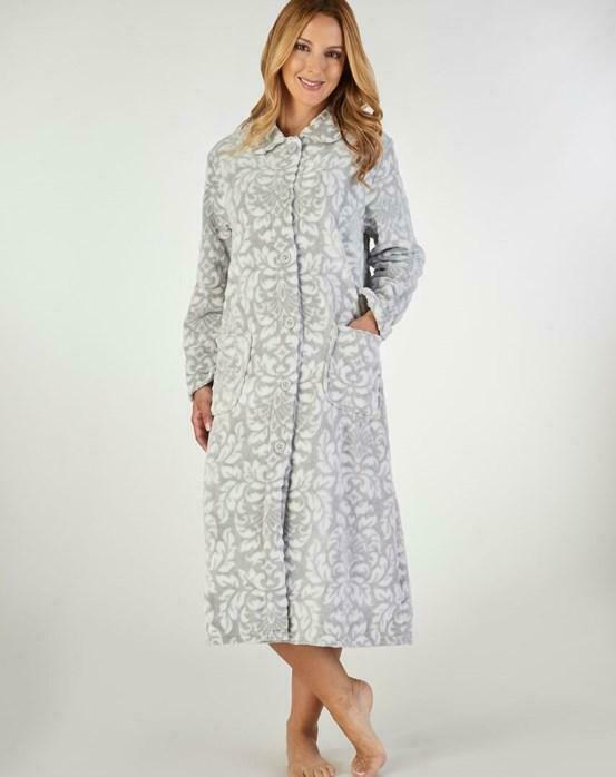 Sale Luxury Supersoft fleece Button Robe By Slenderella With Leaf Print 24-26
