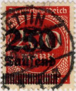 ALLEMAGNE-GERMANY-DEUTSCHLAND-1923-Mi-292-250T-200Mk-Red-Used-STETTIN