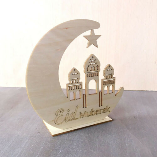 Ramadan Wooden Eid Mubarak Moon Islam Mosque Muslim Plaque Hanging Pendant New