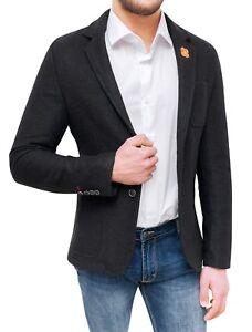 Caricamento dell immagine in corso Giacca-blazer-uomo-sartoriale-nera-slim- fit-cappotto- c98207f57f3
