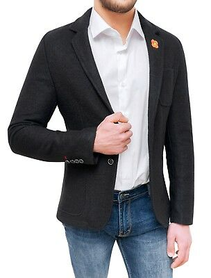detailing 8f607 783c7 Giacca blazer uomo sartoriale nera slim fit cappotto casual elegante in  lana | eBay