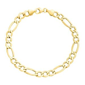 Eternity-Gold-Men-039-s-Figaro-Link-Chain-Bracelet-in-14K-Gold