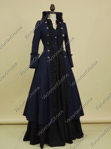 Victorian Coat Dress Game of Thrones Steampunk Witch Halloween Costume NAVY 176