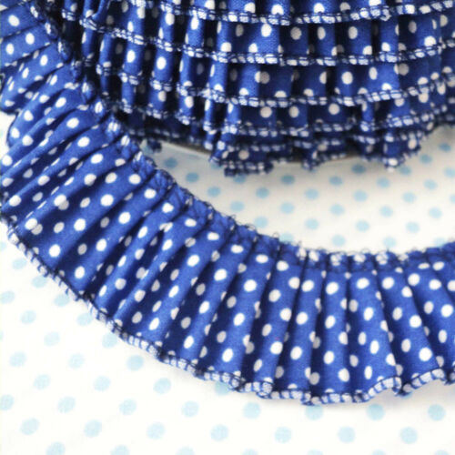 Polka Dot Pleated Trim Edging Cotton Fabric Royal 30mm