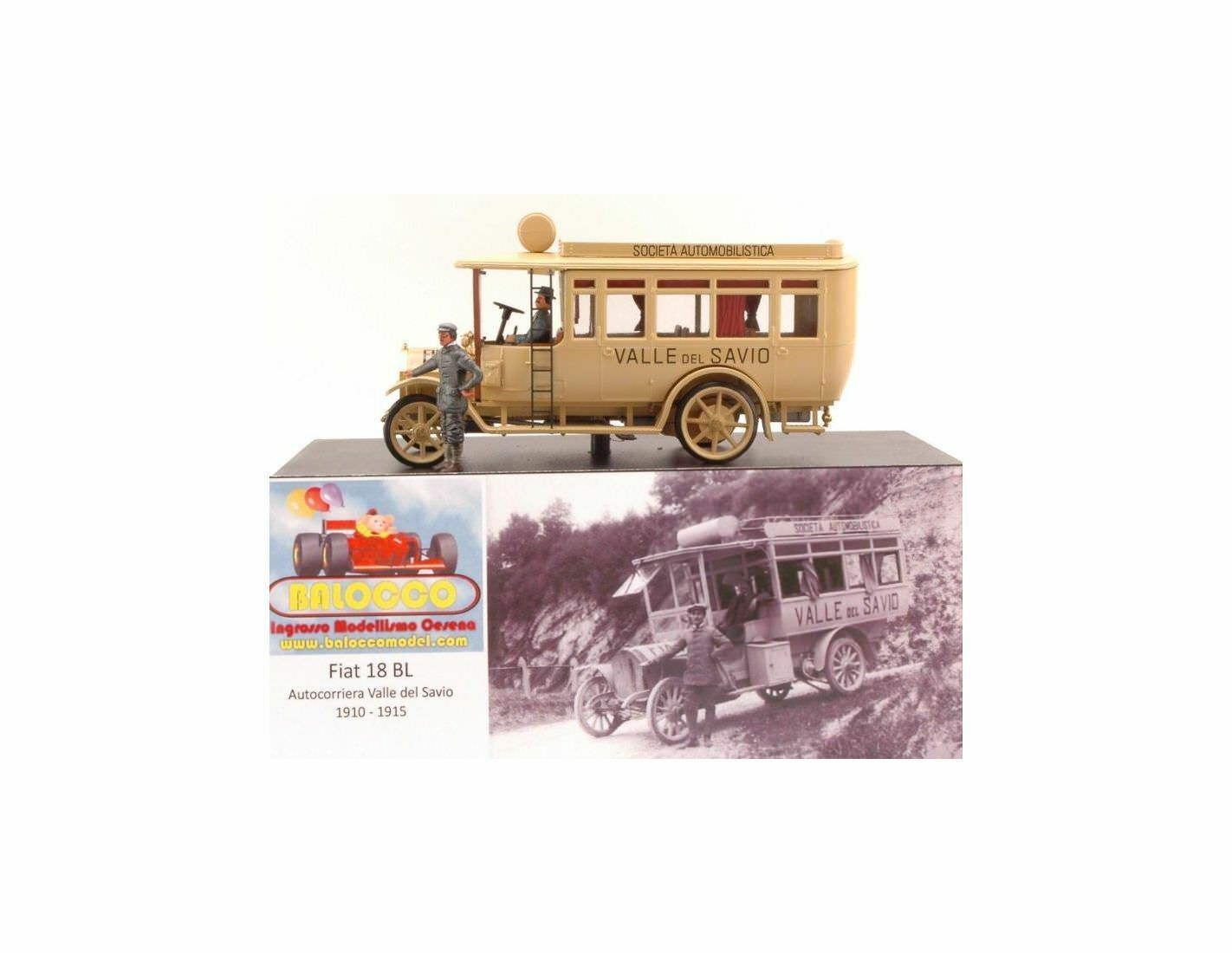 Rio RIBAL01 FIAT 18BL AUTOCORRIERA VALLESAVIO 1910-1915 ED.LIM.PCS 50 1 43 Model