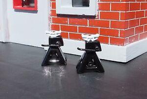 Jack Stands (2) Black Diecast Miniatures 1/24 1/18 G Scale Diorama Accessories