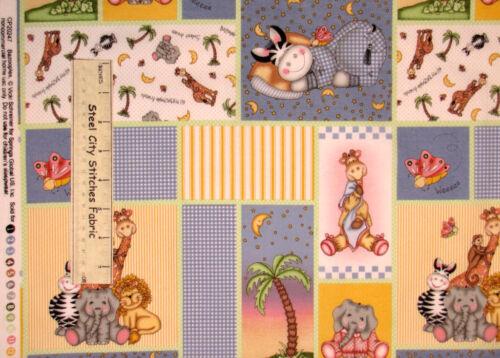 Springs Bazooples Patch Nursery Animal Giraffe Zebra Patch Cotton Fabric YARD