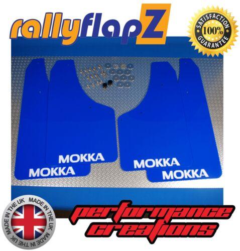 rallyflapZ  VAUXHALL MOKKA 2012 Mud Flaps Mudflaps Blue 4mm PVC /'M/' Logo White