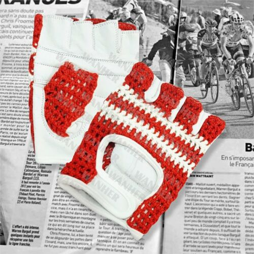 VINTAGE STYLE MEN /& WOMEN CYCLING LEATHER CROCHET MITTS  FINGER LEES