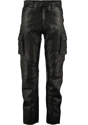 6 Tasche Jeans Uomo Stile Nero lotta Cargo Lederhosen